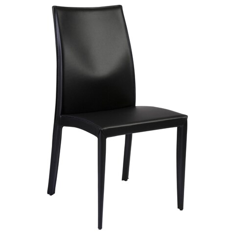 Dafney Dining Chair (Set of 2) - Black Leather