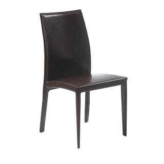 Dafney Brown Leather Dining Chairs (Set of 2)
