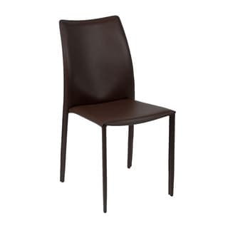 Dalia Brown Leather Dining Chairs (Set of 4)