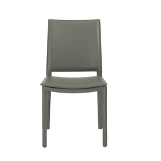 Kate Grey Leather Dining Chairs (Set of 4)