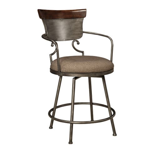 Signature Design by Ashley Moriann Two-tone 24-inch Metal with Back Counter stool