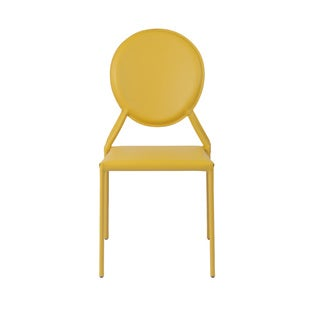 Isabella Yellow Leather Side Chair (Set of 2)