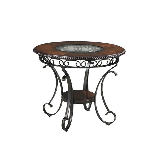 Signature Design By Ashley Glambrey Round Dining Table And: Signature Design By Ashley Glambrey Brown Round Counter
