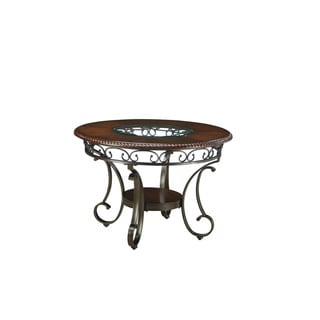 Signature Design by Ashley Glambrey Brown Round Dining Room Table with Glass Insert