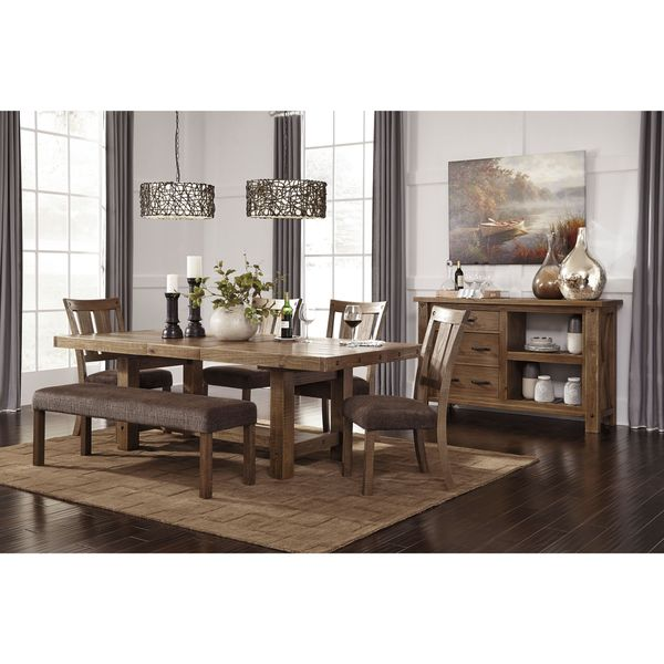 By Ashley Tamilo Gray Brown Rectangle Extension Dining Room Table