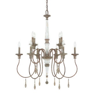 Austin Allen & Company Zoe Collection Brown Steel and Glass 10-light French Antique Chandelier