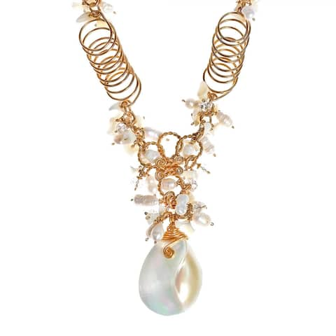 Handmade Exotic Freshwater Pearl and Shell Brass Chain Statement Necklace (Thailand)