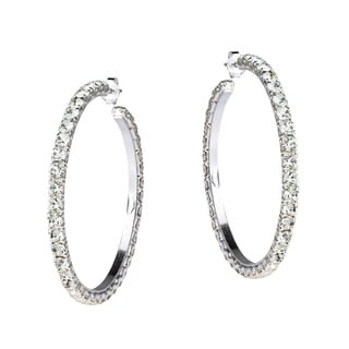 Handmade Fabulous White CZ 43mm Round Hoop Post 925 Silver Earrings (Thailand)