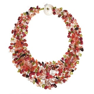 Handmade Secret Autumn Flower Multi Stone Collar Necklace (Philipines)