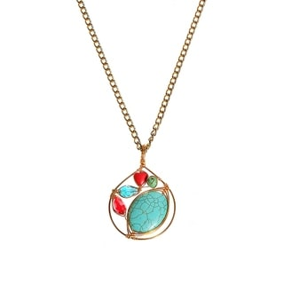 Handmade Petal Turquoise and Coral Chain Brass Medallion Necklace (Philippines)