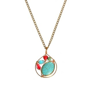 Handmade Paradise Turquoise Synthetic Coral Brass Medallion Necklace