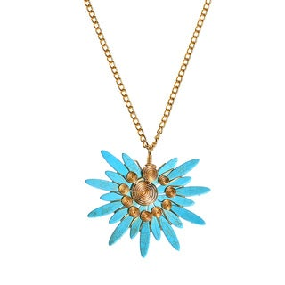 Handmade Majestic Sunshine Turquoise Stone Brass Chain Statement Medallion Necklace (Philippines)