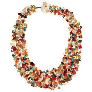 Handmade Luscious Cluster MultiStone Statement Collar Necklace (Thailand)