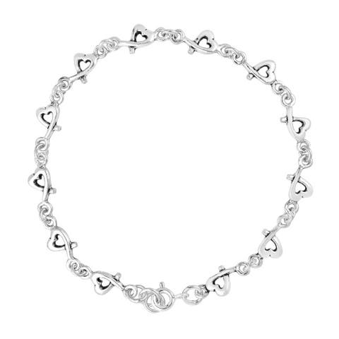 Handmade Sweet Love Intertwine Heart Link .925 Sterling Silver Bracelet (Thailand)