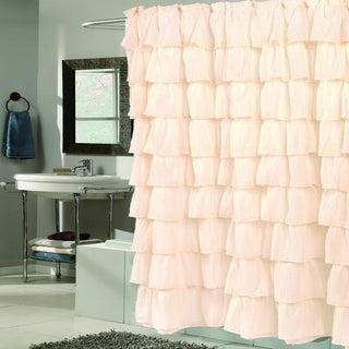 Elegant Ivory Crushed Voile Ruffled Tier Shower Curtain