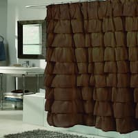 Elegant Brown Crushed Voile Ruffled Tier Shower Curtain