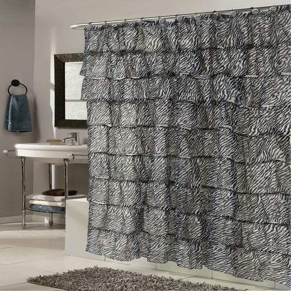 Shop Elegant Zebra Pattern Crushed Voile Ruffled Tier Shower Curtain