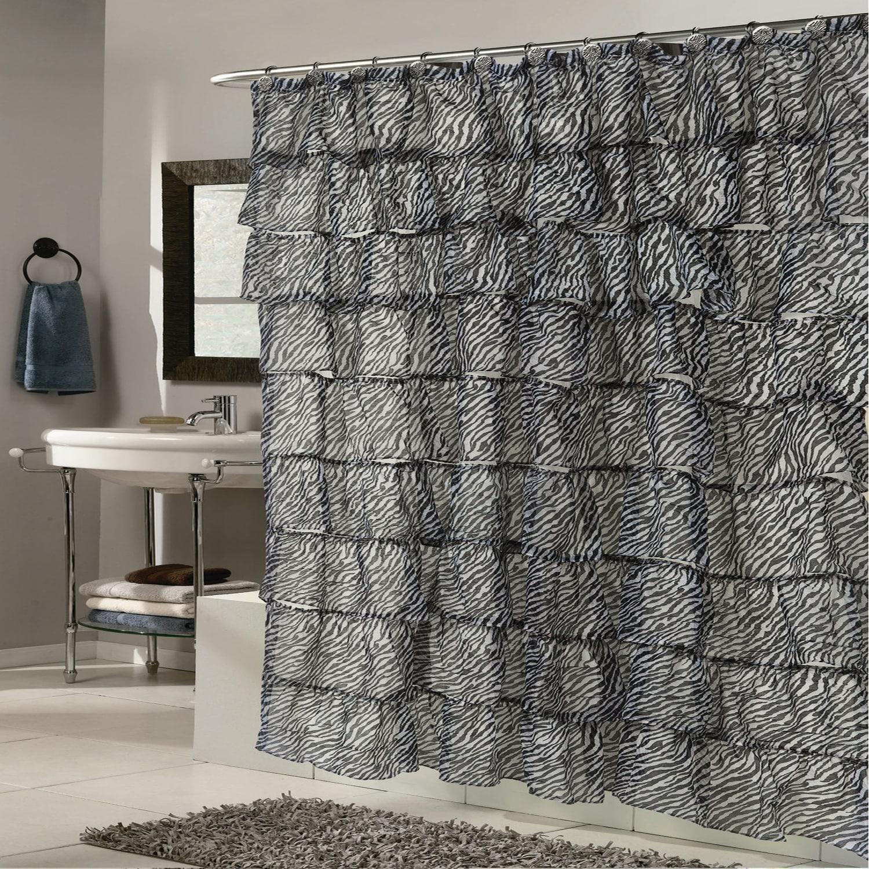 Elegant Zebra Pattern Crushed Voile Ruffled Tier Shower C...