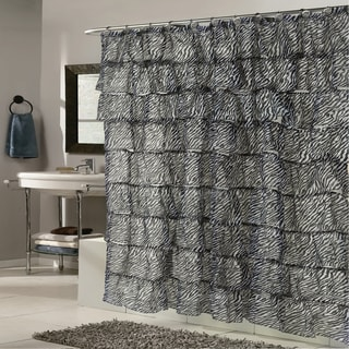 Elegant Zebra Pattern Crushed Voile Ruffled Tier Shower Curtain