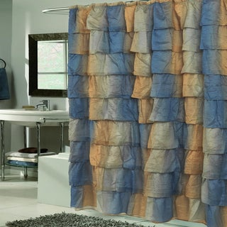 Elegant Umber Crushed Voile Ruffled Tier Shower Curtain