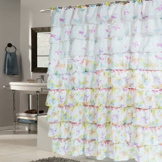 Elegant Butterfly Pattern Crushed Voile Ruffled Tier Shower Curtain