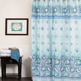 Aqua Oceanic Design Water Resistant 70 x 72-inch Fabric Shower Curtain