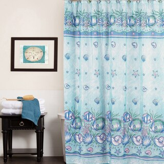 Aqua Oceanic Design Water Resistant 70 x 72-inch Fabric Shower Curtain