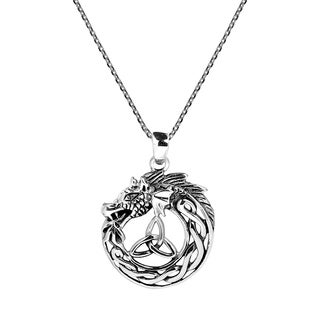 Handmade Mystical Celtic Power of the Dragon .925 Sterling Silver Necklace (Thailand)