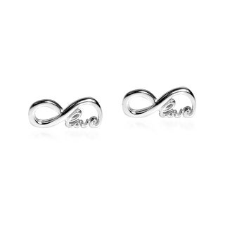 Endless 'Love' Infinity .925 Sterling Silver Stud Earrings (Thailand)