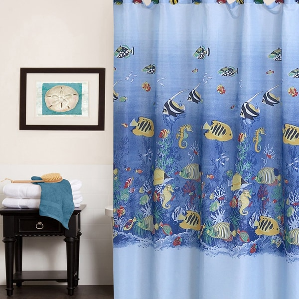 Colorful Tropical Sea Printed Fabric Shower Curtain