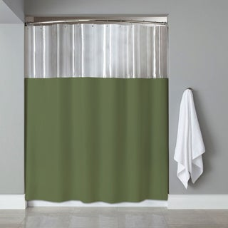 Anti-bacterial/ Microbial Mildew Resistant 'See-through Top' Clear/ Sage Shower Curtain