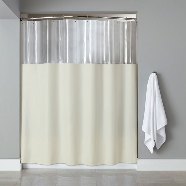 Shop Antibacterial Microbial Mildew Resistant See Through Top Ivory Shower Curtain