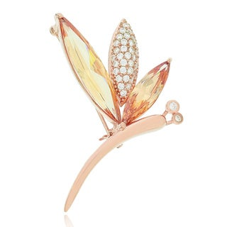 Blue Box Jewels Rose Goldplated Silver Dragonfly Bouquet Brooch
