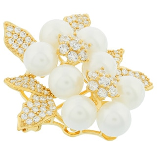 Blue Box Jewels Gold Plated Sterling Silver Pearls Bouquet Brooch
