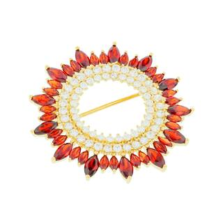 Blue Box Jewels Goldplated Sterling Silver Shining Sun Brooch|https://ak1.ostkcdn.com/images/products/10745916/P17800982.jpg?impolicy=medium