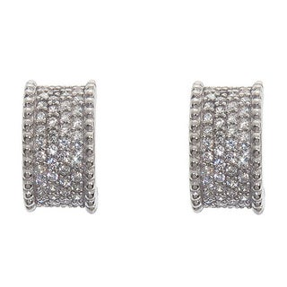 Eternally Haute Solid Sterling Silver Pave J Cuff Earrings