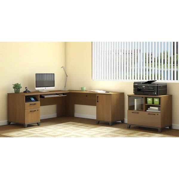 Achieve L Shaped Desk With Printer Stand File Cabinet In Warm Oak