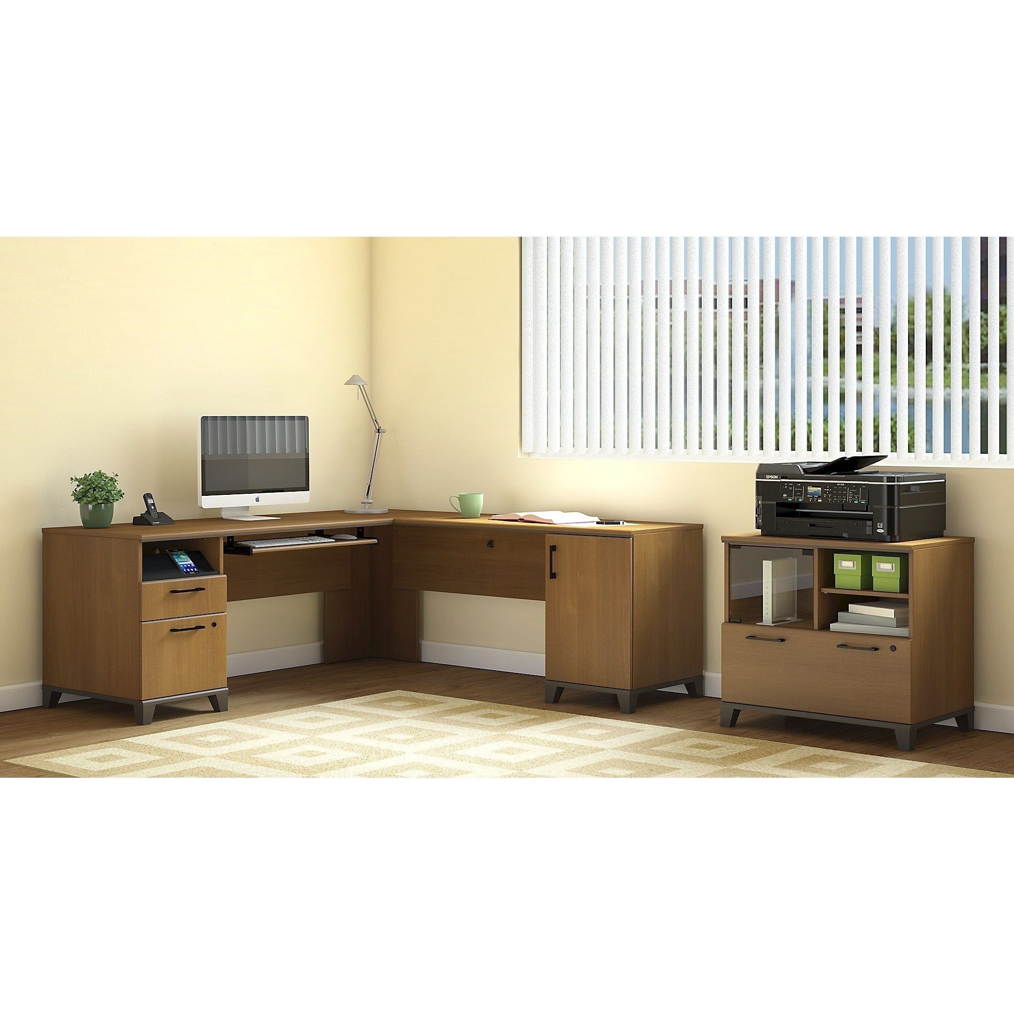 Bush Furniture Achieve L Shaped Desk with Printer Stand F...