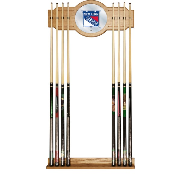 NHL Cue Rack with Mirror - New York Rangers
