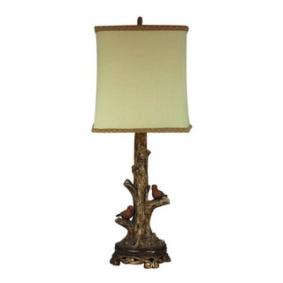 Sterling Birds On A Branch Accent Lamp With Gold Leaf Base