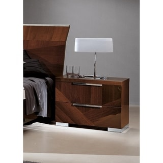 Luca Home Glossy Nightstand 2-drawer Walnut