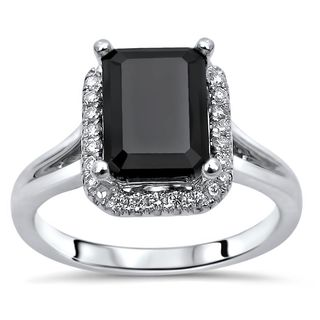 Noori Certified 14k Gold 2 1/4 TDW Black Emerald Cut Diamond Engagement Ring
