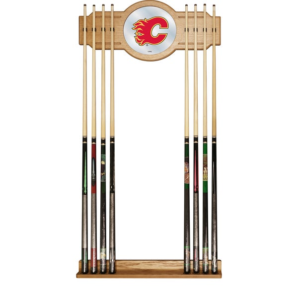 NHL Cue Rack with Mirror - Calgary Flames