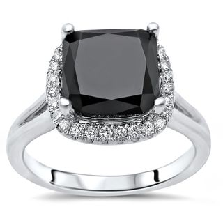 Noori Certified 14k White Gold 2 4/5ct TDW Black Cushion Diamond Engagement Ring