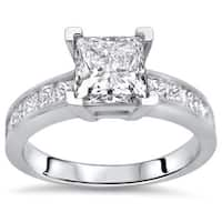 Noori Certified 14k White Gold 1 4/6ct TDW Princess Diamond Engagement Ring