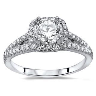 Noori 18k White Gold 1 2/5ct TDW Round Enhanced Split Shank Engagement Ring