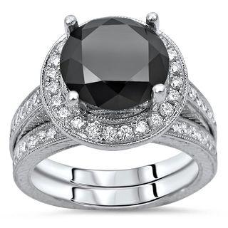Noori Certified 14k White Gold 4ct TDW Black Diamond Bridal Ring Set