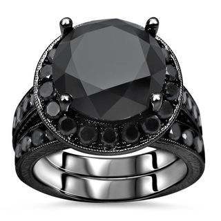 Noori Certified 14k Black Gold 6ct TDW Black Diamond Engagement Ring Set - White