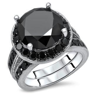 Noori Certified 14k Gold 6ct TDW Black Round Diamond Engagement Ring Set