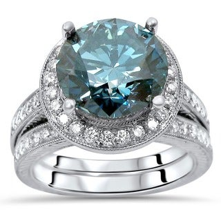 Noori 14k White Gold 4 3/4ct TDW Blue Round Diamond Engagement Ring Set